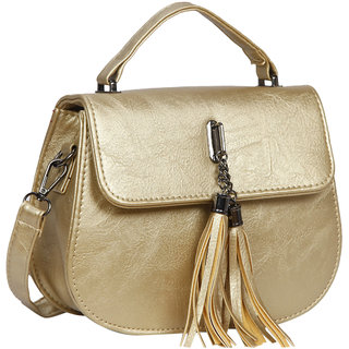 Bagkok Gold Self Design Casual Sling Bag