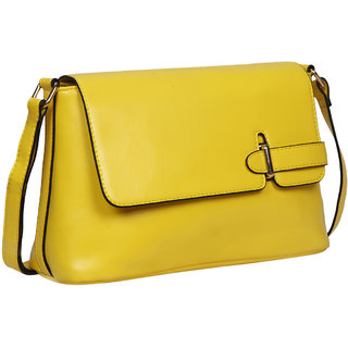 Bagkok Yellow Self Design Casual Sling Bag