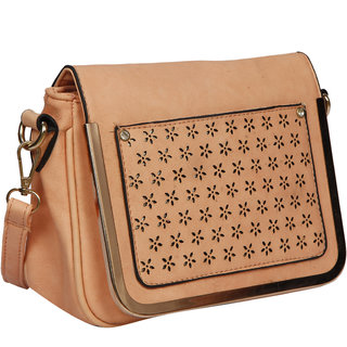 Bagkok Pink Self Design Casual Sling Bag