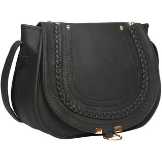Bagkok Black Self Design Casual Sling Bag