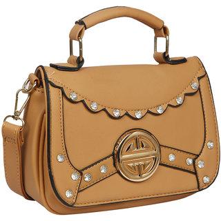Bagkok Beige Self Design Casual Sling Bag