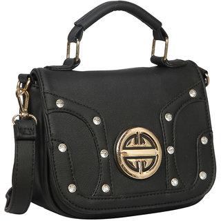 Bagkok Black Self Design Casual Sling Bag