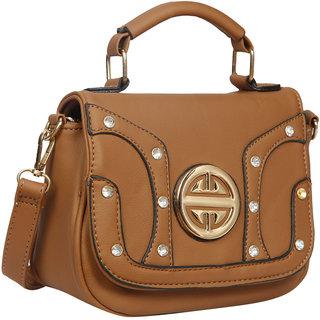 Bagkok Brown Self Design Casual Sling Bag