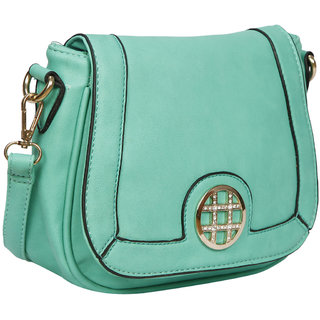 Bagkok Green Self Design Casual Sling Bag