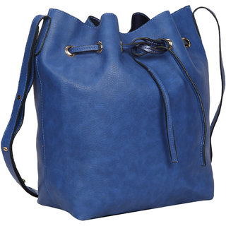 Bagkok Blue Self Design Casual Sling Bag