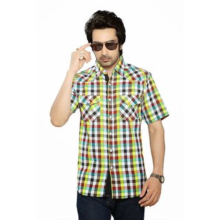 Moksh Multicoloured Cotton Checkered Shirt