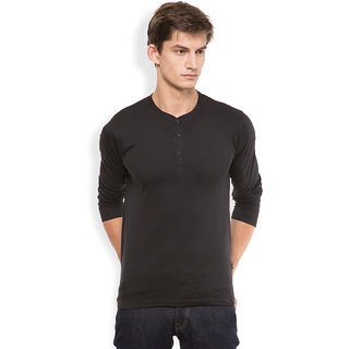 Highlander Black Henley Long Sleeve Tshirt For Men