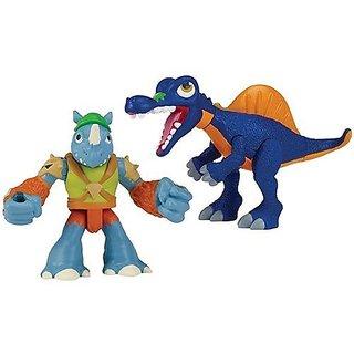 Teenage Mutant Ninja Turtles Pre-Cool Half Shell Heroes Dino Rocksteady and Spinosaurus Figures