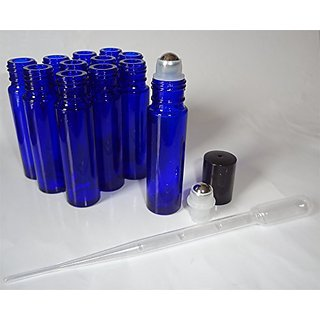 10ml Blue Roll-On Glass Bottle, Metal Roller Ball, Plastic Cap & Jumbo Pipettes [Set of 12]