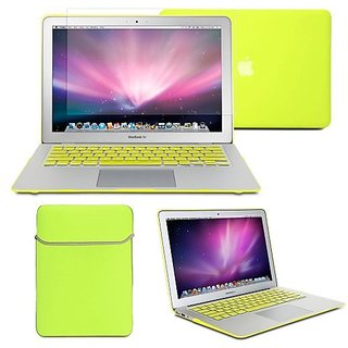 GMYLE(R) Hard Case Frosted for MacBook Air 11 inch - Neon Yellow 4 in 1 Rubberized (Rubber Coated) Hard Case Cover - Sof