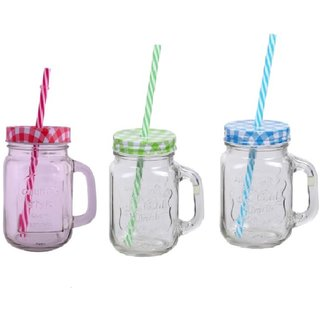Checks Mason Jar Assorted Colors (Pack of 3)