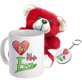 Sky Trends Wonderful Combo Gift Set Printed Coffee Mug Keychain Teddy Gift For Propose Day Rose Day Hug Day Kiss Day Valentine & Anniversery Birthday STG-19