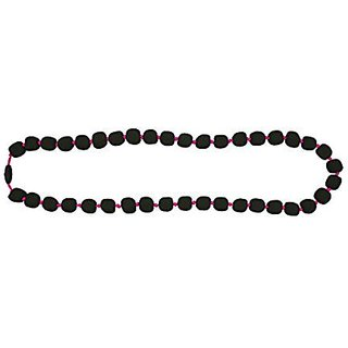Jellystone Pea Necklace, Smokey Black Bead with Neon Pink cord