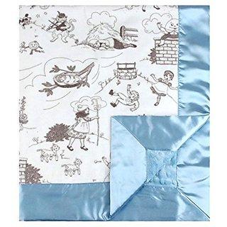 My Blankee Bedtime Story Minky Silver w/ Minky Dot Blue Baby Blanket, 30