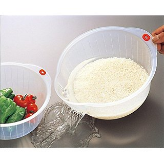 Inomata Japanese Rice Washing Bowl with Side and Bottom Drainers, White