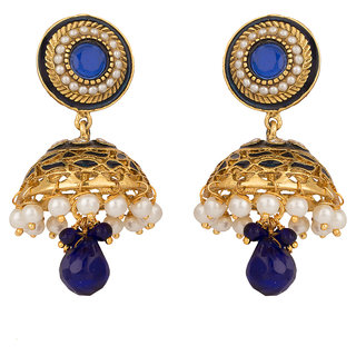 Rajwada Arts Traditional Jhumki with Blue Stones for women