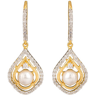 Rajwada Arts American Diamond Drop Earrings with White stones for Women