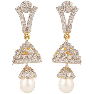 Rajwada Arts Brass Y Shaped American Diamond Drop Earrings