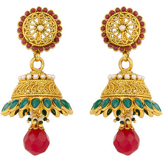 Rajwada Arts Brass Green & Red Stones Jhumki Earrings