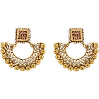 Rajwada Arts Traditional Rajasthani Thewa Inspired Dangle Earrings