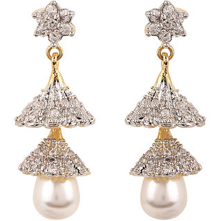 Rajwada Arts Silver colored Cubic Zirconia Brass Designer Dangle Earring for women
