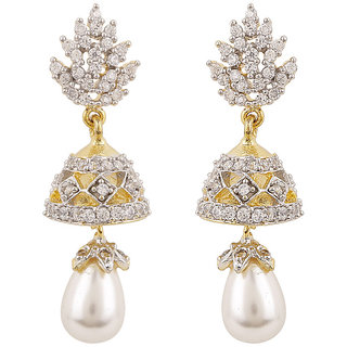 Rajwada Arts Silver colored Cubic Zirconia Brass Designer Dangle Earring for women