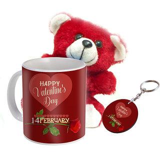 Sky Trends Valentine Combo Gift Set Soft Teddy Printed Coffee Mug Keychain Amazing Gift Valentine Week For Wife Husband Boyfriend Friend Girlfriend STg-011