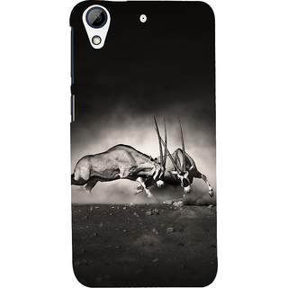 Snapdilla Artistic Vintage Wild Bull Fight Lovers Black  White Cell Cover For HTC Desire 626