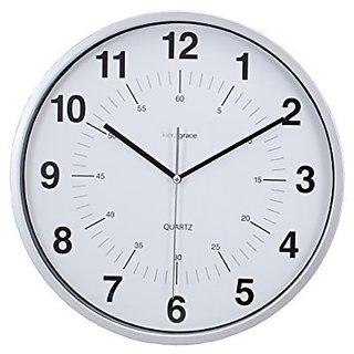 Kiera Grace Synchro Silent Wall Clock, 12 Inch, 3/4 Inch Deep - Silver