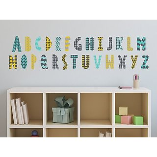 Sunny Decals Modern Alphabet Fabric Wall Decals with Patterns, Orange/Grey/Turquoise/Black