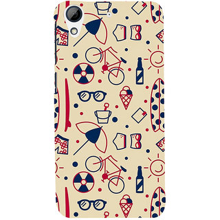 Snapdilla Clipart Unique Pattern Bicycle Ice-Cream Girly 3D Print Cover For HTC Desire 626