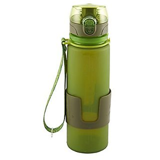 Design for Living 5141339 Silicone Water Bottle with Flip Top Lid and Strap, 16-Ounce, Green