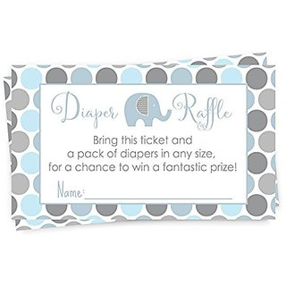 Elephant Baby Shower Diaper Raffle Game Blue & Grey Invite Insert Card 25 pc.