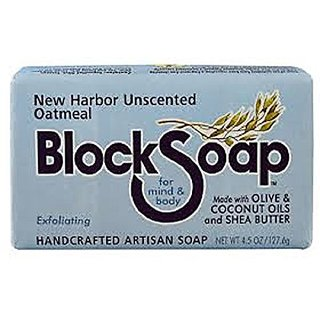 Block Soap Handcrafted Exfoliating Artisan Soap (4.5 Oz.) - New Harbor Unscented Oatmeal