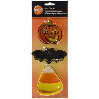 Wilton Bat Candy Corn Pumpkin Metal Cookie Cutter Set