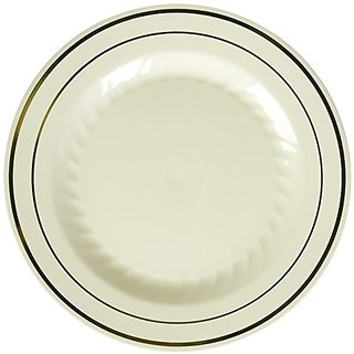 Fineline Settings 15-Piece Silver Splendor Bone with Gold Round China-Like Plate, 6-Inch