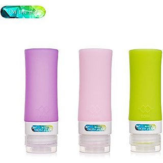 On the go Silicone Travel Bottle Set shampoo conditioner bottle leak proof design silicone travel bottles (Pillar 1.3oz)
