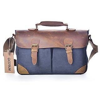 Gootium 50102GRY Vintage High Density Canvas Genuine Leather Laptop Shoulder Crossbody Bag,Grey