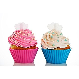 Silicone Cupcake Liners - Baking Molds - Wedding Baking Supplies - Reuseable- 12 piece Set with Storage Container