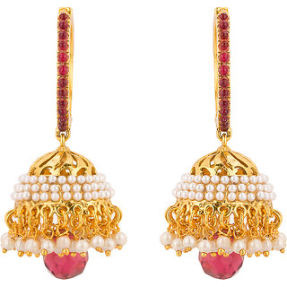 Rajwada Arts Traditional Jhumki with Red and White Stones for Women