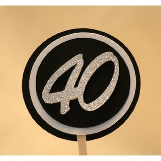 All About Details Black & White 40 Cupcake Toppers, Set of 12