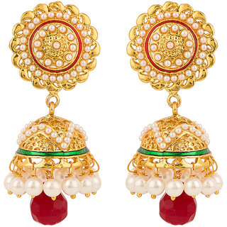 Rajwada Arts Brass Red Enamel Green Enamel with Red Stone Jhumki Earrings
