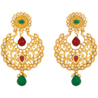 Rajwada Arts Gold Plated Multicolor Ethnic Chandbali Earring For Women