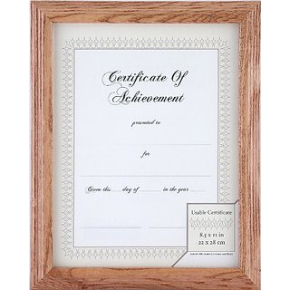 Gallery Solutions Natural Wide Stepped Wood Document Frame with Usable Certificate, 8-1/2 by 11-Inch
