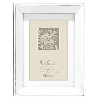 Malden International Designs Wood Angle Morgan Scratch Picture Frame to Hold 4 by 6-Inch Photo with Mat and 5 by 7-Inch Photo without Mat, White, 4 x 6-Inch