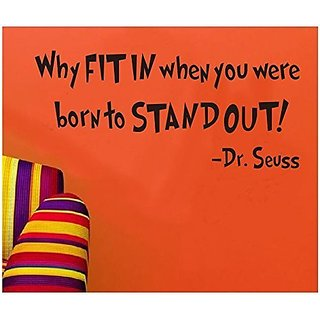 SWORNA Baby Nursery Series Dr. Seuss Why Fit In When You Were Born To Stand Out Vinyl Kids Wall Art Decals Wall Saying Lettering Quotes Decal Stickers Uplifting Decor for Children's/Kids'/Baby's Bedroom/Playroom/Kindergarten/Kids Nursery/Classroom DIY Wal