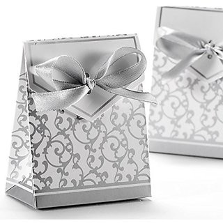 Foxnovo 50pcs Beautiful Wedding Favour Candy Boxes Gift Boxes with Ribbons (Silver)