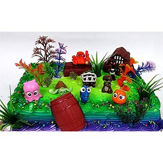 FINDING DORY 18 Piece Birthday CAKE Topper Set, Featuring Dory, Nemo and Other Sea Friends, Decorative Themed Accessories, Figures Average 1