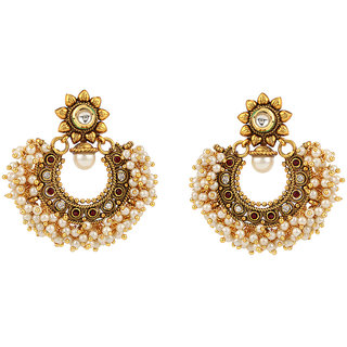 Rajwada Arts Brass Star Shaped Moti Hoop Earrings