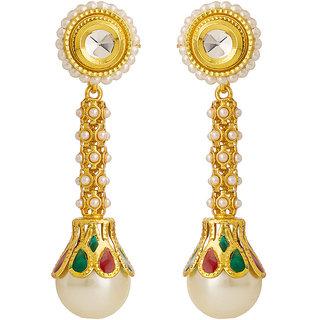 Rajwada Arts Brass Pearl  Drop Earrings